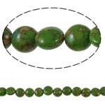 Bruz Beads, Bruz Mozaiku, Monedhë, sintetik, asnjë, e gjelbër, 10x6mm, : 1mm, :15.7Inç, 10Fillesat/Qese,  Qese