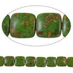 Bruz Beads, Bruz Mozaiku, Katror, sintetik, asnjë, e gjelbër, 18x7mm, : 1mm, :15.7Inç, 10Fillesat/Qese,  Qese
