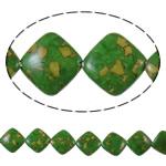 Bruz Beads, Bruz Mozaiku, Romb, sintetik, asnjë, e gjelbër, 21x21x7mm, : 1mm, :15.7Inç, 10Fillesat/Qese,  Qese