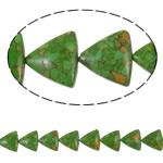 Bruz Beads, Bruz Mozaiku, Trekëndësh, sintetik, asnjë, e gjelbër, 22x20x9mm, : 1mm, : 15.7Inç, 10Fillesat/Qese,  Qese