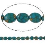 Bruz Beads, Bruz Mozaiku, Oval Flat, sintetik, asnjë, blu, 13x18x8mm, : 1mm, :15.7Inç, 10Fillesat/Qese,  Qese