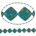 Bruz Beads, Bruz Mozaiku, Romb, sintetik, asnjë, blu, 18x18x6mm, : 1mm, :15.7Inç, 10Fillesat/Qese,  Qese