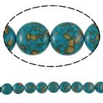 Bruz Beads, Bruz Mozaiku, Round Flat, sintetik, asnjë, blu, 18x9mm, : 1mm, :15.7Inç, 10Fillesat/Qese,  Qese