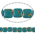 Bruz Beads, Bruz Mozaiku, Katror, sintetik, asnjë, blu, 18x7mm, : 1mm, :15.7Inç, 10Fillesat/Qese,  Qese