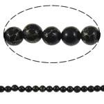 Bruz Beads, Bruz Gold venë, Round, sintetik, asnjë, e zezë, 10mm, : 1mm, :15.7Inç, 10Fillesat/Qese,  Qese