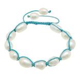 Ujërave të ëmbla Pearl Shamballa Bracelets, Pearl kulturuar ujërave të ëmbla, with Cord najlon, Shape Tjera, asnjë, asnjë, 10-14x9-10x9.5mm, :6-10Inç, 10Fillesat/Shumë,  Shumë