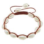 Ujërave të ëmbla Pearl Shamballa Bracelets, Pearl kulturuar ujërave të ëmbla, with Cord najlon, Shape Tjera, asnjë, asnjë, 10-12x9x9mm, :6-10Inç, 10Fillesat/Shumë,  Shumë