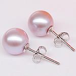Një palë vathë Pearl ujërave të ëmbla, Pearl kulturuar ujërave të ëmbla, with 925 Sterling Silver, Round, natyror, vjollcë, 8-8.5mm,  Palë