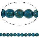 Bruz Beads, Bruz Gold venë, Round, sintetik, asnjë, blu, 8mm, : 1mm, : 15.7Inç, 10Fillesat/Qese,  Qese