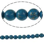 Bruz Beads, Bruz Gold venë, Round, sintetik, asnjë, blu, 20mm, : 1mm, : 15.7Inç, 10Fillesat/Qese,  Qese