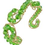 Bracelets Crystal, Kristal, with Hekur, Rondelle, ngjyrë ari praruar, faceted, Gjelbër fier, 6x4mm, 20mm, :6.5Inç, 20PC/Shumë,  Shumë