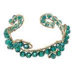 Bracelets Crystal, Kristal, with Hekur, Rondelle, ngjyrë ari praruar, faceted, Smerald, 6x4mm, 20mm, :6.5Inç, 20PC/Shumë,  Shumë
