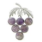 Agat pendants bizhuteri, Purple agat, with Tunxh, Hardhi, ngjyrë platin praruar, asnjë, 36x56x5mm, : approx 10x4mm, 20PC/Shumë,  Shumë