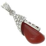 Pendants Red agat, with Tunxh, Lot, ngjyrë platin praruar, me diamant i rremë, 14x37x10mm, : 4x6mm, 20PC/Shumë,  Shumë