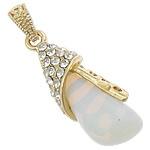 Deti Pendants opal, Deti Opal, with Tunxh, Lot, ngjyrë ari praruar, me diamant i rremë, asnjë, 14x37x10mm, : 4x6mm, 20PC/Shumë,  Shumë