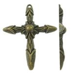 Alloy zink Pendants Kryqi, Ngjyra antike bronz i praruar, asnjë, asnjë, , nikel çojë \x26amp; kadmium falas, 37.50x46x5mm, : 1.5mm, 270PC/KG,  KG