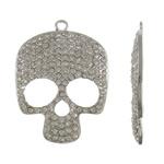 Pendants Skull Alloy zink, Kafkë, ngjyrë platin praruar, me diamant i rremë, asnjë, , nikel çojë \x26amp; kadmium falas, 39x52.50x5mm, : 3mm, 10PC/Qese,  Qese