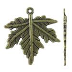 Pendants Zink Alloy Leaf, Alloy zink, Gjethe, Ngjyra antike bronz i praruar, asnjë, asnjë, , nikel çojë \x26amp; kadmium falas, 26.50x28x1.50mm, : 1mm, 380PC/KG,  KG