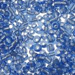 Silver Beads rreshtuar qelqi farë, Seed Glass Beads, Round, argjend-rreshtuan, asnjë, dritë blu, 2x1.9mm, : 1mm, 30000PC/Qese,  Qese