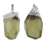 Pendants Natyrore kuarc, Lemon kuarc, with Alloy zink, Nuggets, ngjyrë platin praruar, faceted, 25x57x18mm, : 10x6mm, 20PC/Shumë,  Shumë