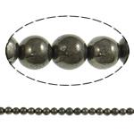 Beads bizhuteri gur i çmuar, Chalcopyrite, Round, natyror, asnjë, 10mm, : 2mm, : 15.7Inç, 20Fillesat/Shumë,  Shumë