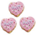Rrëshirë Cabochon, Zemër, asnjë, smalt, rozë, 17x19mm, 200PC/Qese,  Qese
