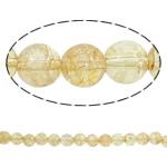 Knistern Quarz Perlen, Gelbquarz Perlen, rund, November Birthstone, limonengelb, 12mm, Bohrung:ca. 1mm, Länge:ca. 15.7 ZollInch, 20SträngeStrang/Menge, verkauft von Menge