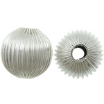 Beads bizhuteri bronzi, Tunxh, Round, Ngjyra argjend praruar, corrugated, asnjë, kadmium falas, 16x16mm, : 4.5mm, 500PC/Qese,  Qese