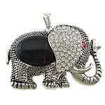 Pendants Zi agat, Black agat, with Alloy zink, Elefant, ngjyrë platin praruar, smalt & me diamant i rremë, 62x49x20mm, : 4x8mm, 10PC/Shumë,  Shumë