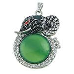 E gjelbër varëse agat, Jeshile agat, with Tunxh, Elefant, ngjyrë platin praruar, smalt & me diamant i rremë, 38x52x10mm, : 4x7mm, 10PC/Shumë,  Shumë
