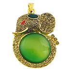 E gjelbër varëse agat, Jeshile agat, with Alloy zink, Elefant, ngjyrë ari praruar, smalt & me diamant i rremë, 38x52x10mm, : 4x7mm, 10PC/Shumë,  Shumë