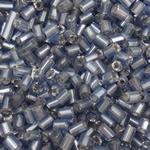 Silver Beads rreshtuar qelqi farë, Seed Glass Beads, Tub, argjend-rreshtuan, asnjë, blu të mesme, 2x2mm, : 1mm, 30000PC/Qese,  Qese