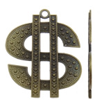Zink-Aluminium-Anhänger, Zinklegierung, Währungszeichen, antike Bronzefarbe plattiert, frei von Nickel, Blei & Kadmium, 46x56x2mm, Bohrung:ca. 3.5mm, ca. 90PCs/kg, verkauft von kg