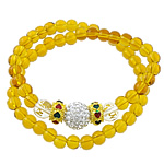 Crystal Bracelets, 2-strand, citrine, with gold powder, elastic thread with enamel brass bead & rhinestone clay pave bead, gold color plated, 6mm, 8mm, 10mm, 9x6mm, Sold per approx 14 Inch Strand
