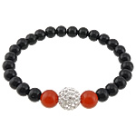 Black Agate Bracelets, Round, elastic thread with red agate & rhinestone clay pave bead, 6mm, 8mm, 10mm, Sold per approx 6.5 Inch Strand