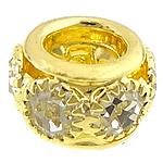 Beads bizhuteri bronzi, Tunxh, Daulle, ngjyrë ari praruar, me diamant i rremë & vrimë e madhe, asnjë, , nikel çojë \x26amp; kadmium falas, 8x6mm, : 4mm, 100PC/Shumë,  Shumë