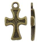 Alloy zink Pendants Kryqi, Ngjyra antike bronz i praruar, asnjë, asnjë, , nikel çojë \x26amp; kadmium falas, 10x16.50x2mm, : 2mm, 1660PC/KG,  KG