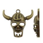 Pendants Skull Alloy zink, Lopë, Ngjyra antike bronz i praruar, asnjë, asnjë, , nikel çojë \x26amp; kadmium falas, 34.50x31x7.50mm, : 2.5mm, 230PC/KG,  KG
