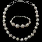 Natyrore kulturuar Pearl ujërave të ëmbla bizhuteri Sets, Pearl kulturuar ujërave të ëmbla, with Seed Glass Beads, Shape Tjera, natyror, e bardhë, AA, 8-9mm, : 17Inç, 7.5Inç,  I vendosur