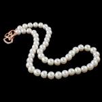 Natyrore ujërave të ëmbla Pearl gjerdan, Pearl kulturuar ujërave të ëmbla, with Tunxh, Shape Tjera, natyror, e bardhë, AA, 8-9mm, : 16Inç,  16Inç,