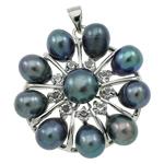 Pendants Pearl ujërave të ëmbla, Pearl kulturuar ujërave të ëmbla, with Tunxh, Lule, natyror, e zezë, 31x34x9mm, : 3.5x5mm, 10PC/Qese,  Qese