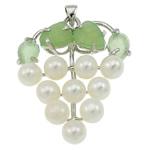 Pendants Pearl ujërave të ëmbla, Pearl kulturuar ujërave të ëmbla, with Aventurine jeshile & Tunxh, Hardhi, natyror, e bardhë, 37x42x13mm, : 3.5x5mm, 10PC/Qese,  Qese