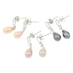 Një palë vathë Pearl ujërave të ëmbla, Pearl kulturuar ujërave të ëmbla, with Tunxh, Shape Tjera, ngjyrë platin praruar, ngjyra të përziera, 7x25mm, 22x14x3.5cm, 36Çiftet/Kuti,  Kuti