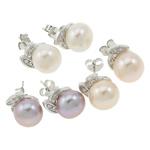 Ujërave të ëmbla Pearl Ring Finger, Pearl kulturuar ujërave të ëmbla, with Tunxh, Round, natyror, ngjyra të përziera, 10x12mm, 22x14x3.5cm, 36Çiftet/Kuti,  Kuti