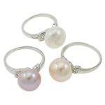 Ujërave të ëmbla Pearl Ring Finger, Pearl kulturuar ujërave të ëmbla, with Tunxh, Shape Tjera, natyror, ngjyra të përziera, 11.5-12mm, 22x14x3.5cm, :6.5, 36PC/Kuti,  Kuti