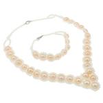 Natyrore kulturuar Pearl ujërave të ëmbla bizhuteri Sets, Pearl kulturuar ujërave të ëmbla, with Xham, Shape Tjera, natyror, rozë, 9-10mm, :16Inç, 7Inç,  I vendosur
