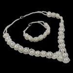 Natyrore kulturuar Pearl ujërave të ëmbla bizhuteri Sets, Pearl kulturuar ujërave të ëmbla, with Xham, Shape Tjera, natyror, e bardhë, 9-10mm, :16Inç, 7Inç,  I vendosur