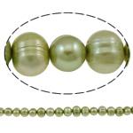 Patates Beads ujërave të ëmbla kulturuar Pearl, Pearl kulturuar ujërave të ëmbla, i lyer, e gjelbër, Një, 8-9mm, : 1mm, : 15.3Inç,  15.3Inç,