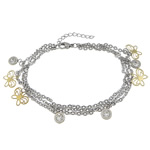 Stainless Steel Anklets Jewelry, 3-strand, two-tone, with rhinestone & lobster clasp & 1.5 Inch extender chain & stamping charm, 12.5x10.5x0.5mm, 6.5x9x3mm, Sold per approx 8 Inch Strand