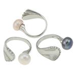 Ujërave të ëmbla Pearl Ring Finger, Pearl kulturuar ujërave të ëmbla, with Tunxh, Shape Tjera, natyror, ngjyra të përziera, 10-11mm, :6.5, 36PC/Kuti,  Kuti